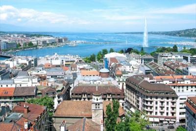 Blick über Genf zum Jet d'Eau