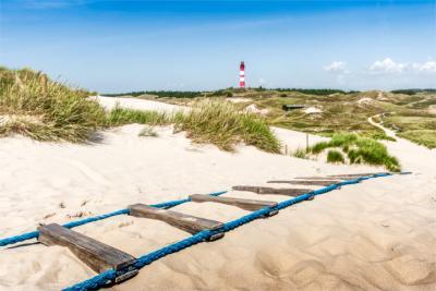Leuchtturm und Salzwiese in Nordfriesland