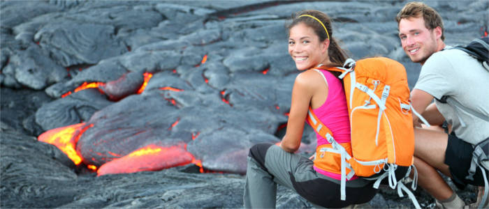 Lava-Touristen auf Hawaii